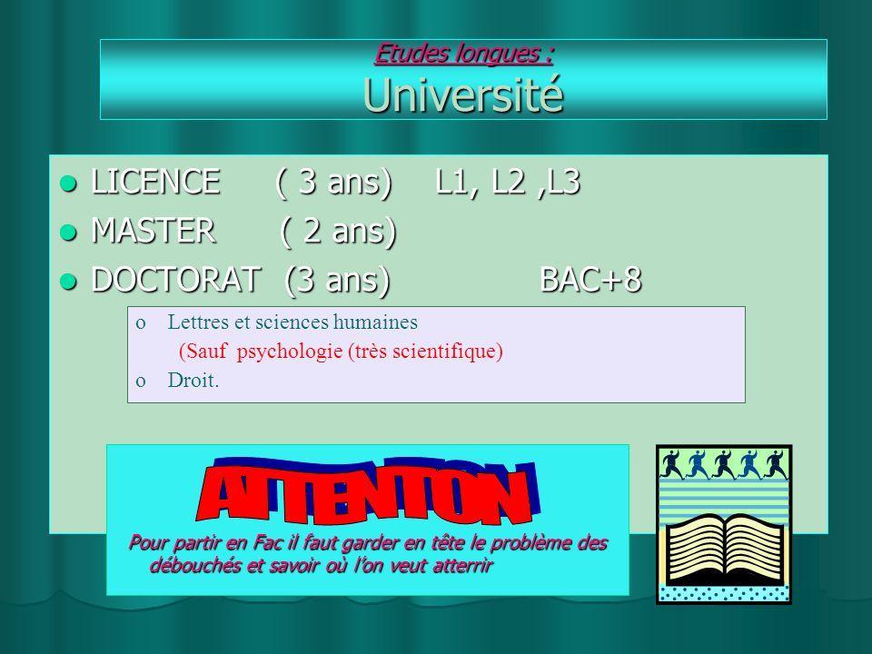 Etudes longues : Université