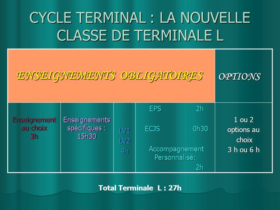 CYCLE TERMINAL : LA NOUVELLE CLASSE DE TERMINALE L
