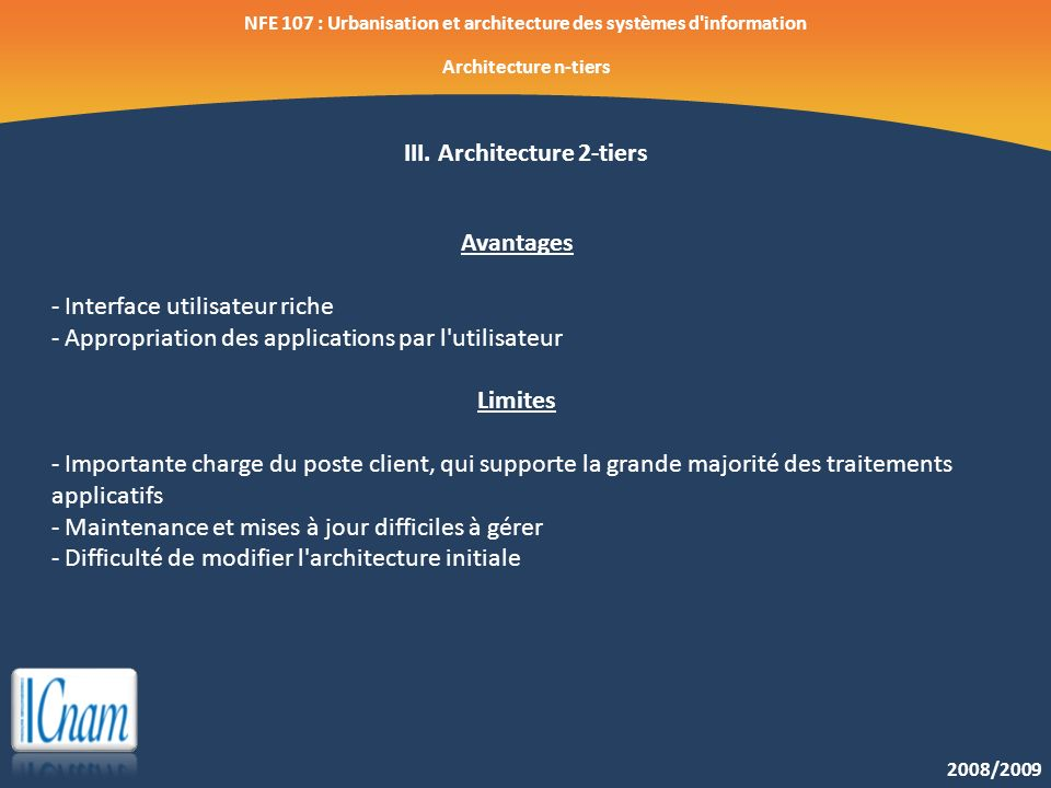 III. Architecture 2-tiers Avantages Limites