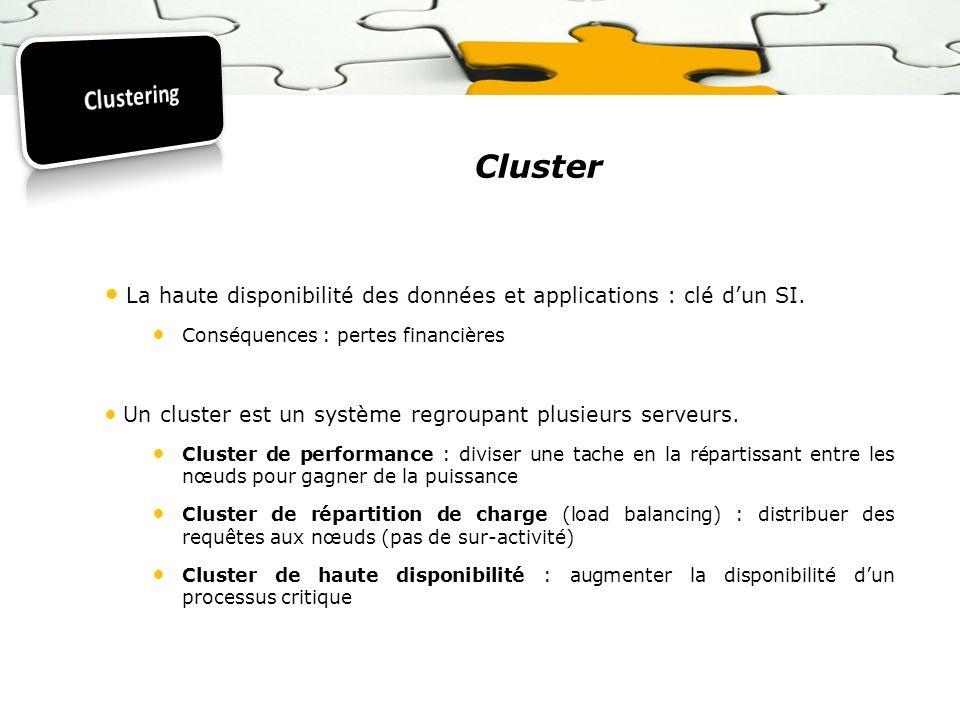 Clustering Cluster. La haute disponibilité des données et applications : clé d'un SI. Conséquences : pertes financières.