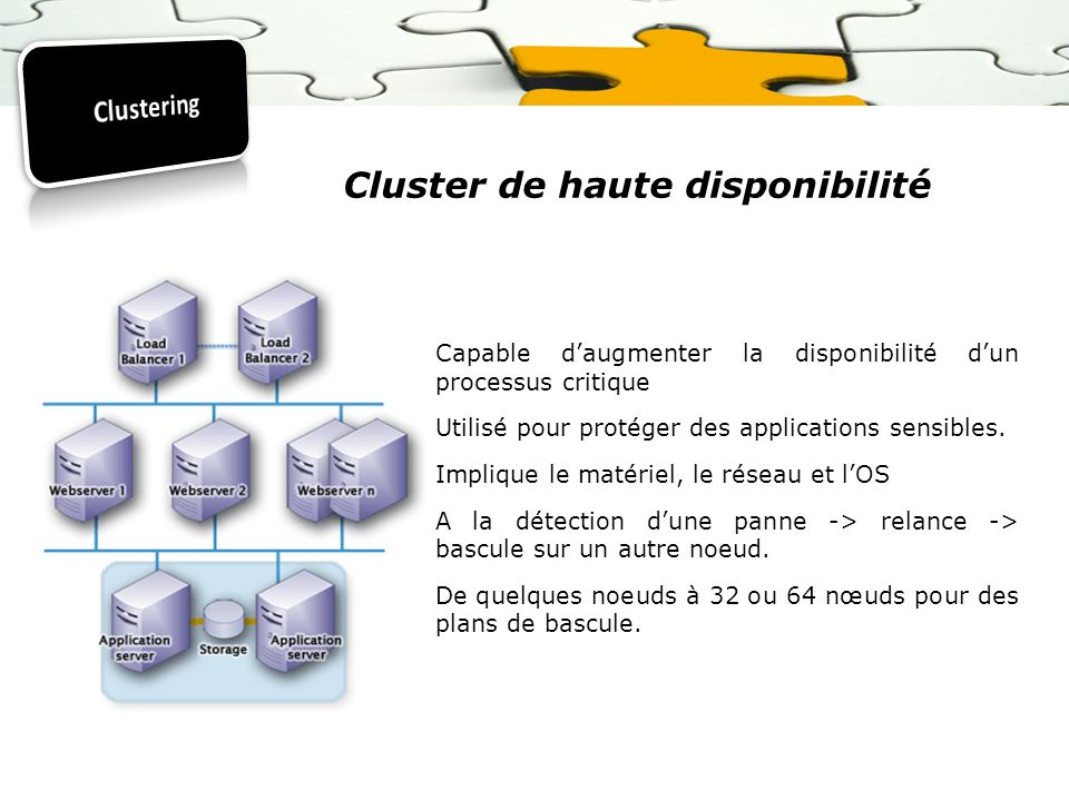 Cluster de haute disponibilité