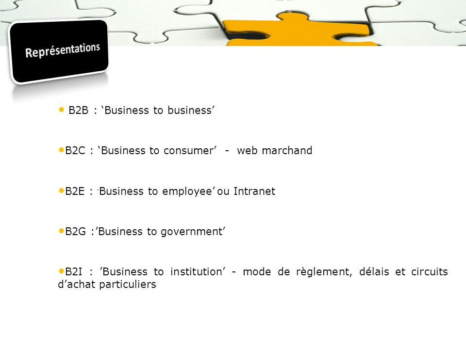 Représentations B2B : 'Business to business'
