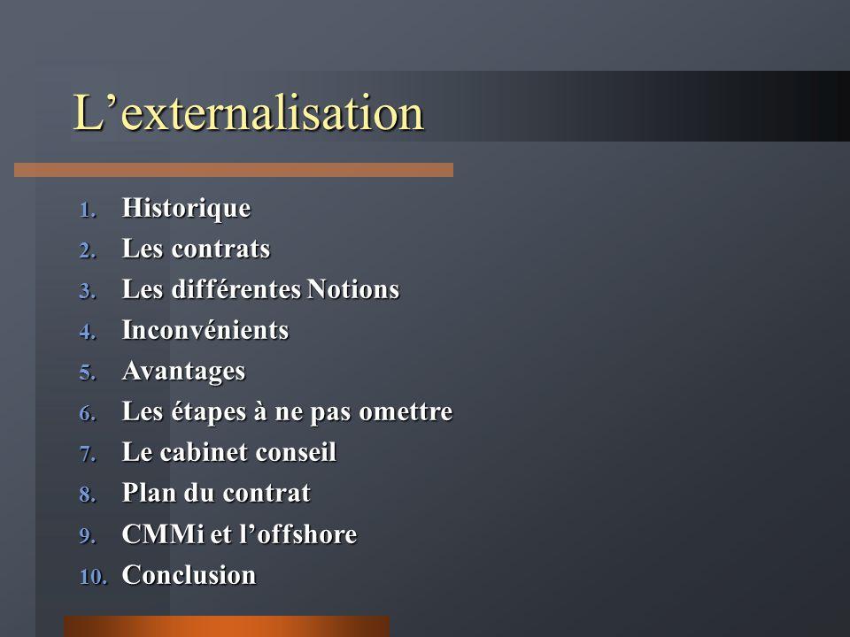 L'externalisation Historique Les contrats Les différentes Notions