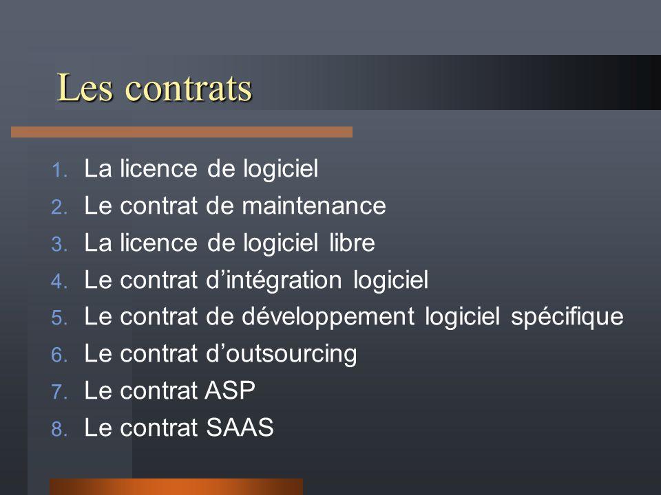 Les contrats La licence de logiciel Le contrat de maintenance