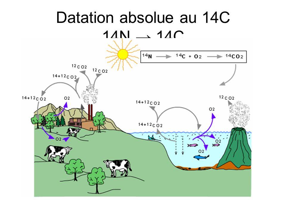 Datation absolue au 14C 14N → 14C