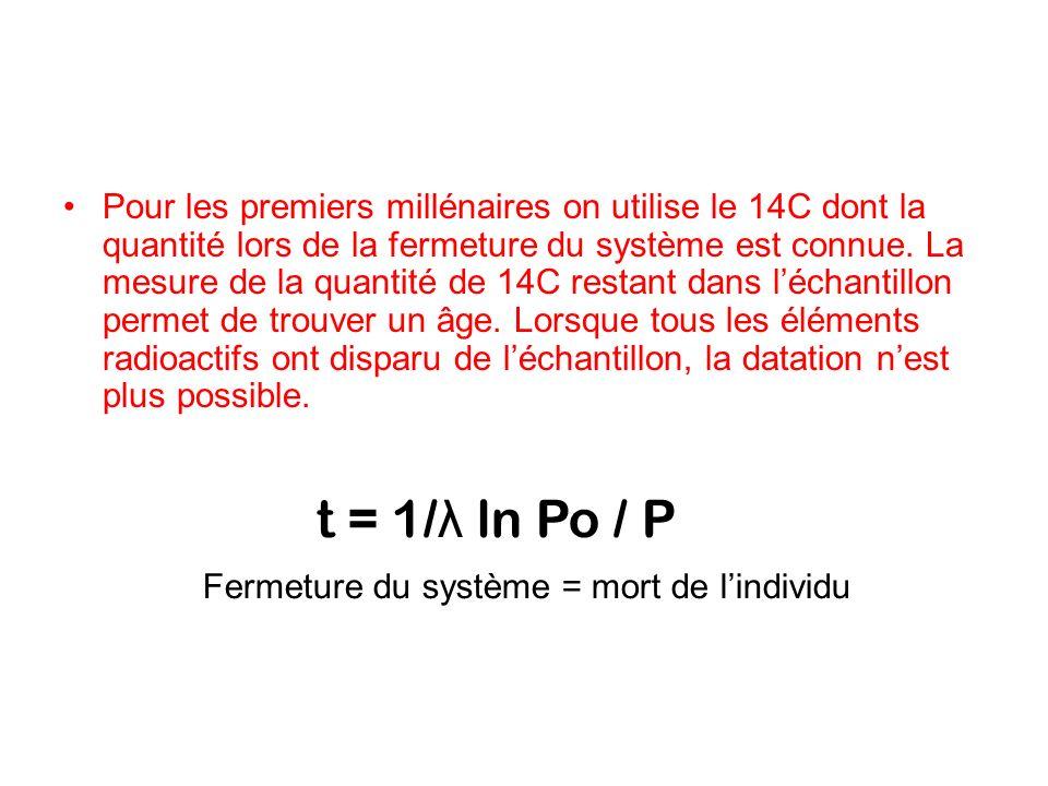 Pour les premiers millénaires on utilise le 14C dont la quantité lors de la fermeture du système est connue. La mesure de la quantité de 14C restant dans l'échantillon permet de trouver un âge. Lorsque tous les éléments radioactifs ont disparu de l'échantillon, la datation n'est plus possible.