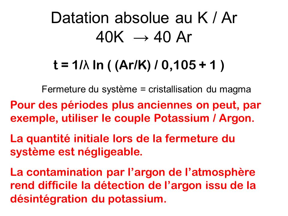 Datation absolue au K / Ar 40K → 40 Ar