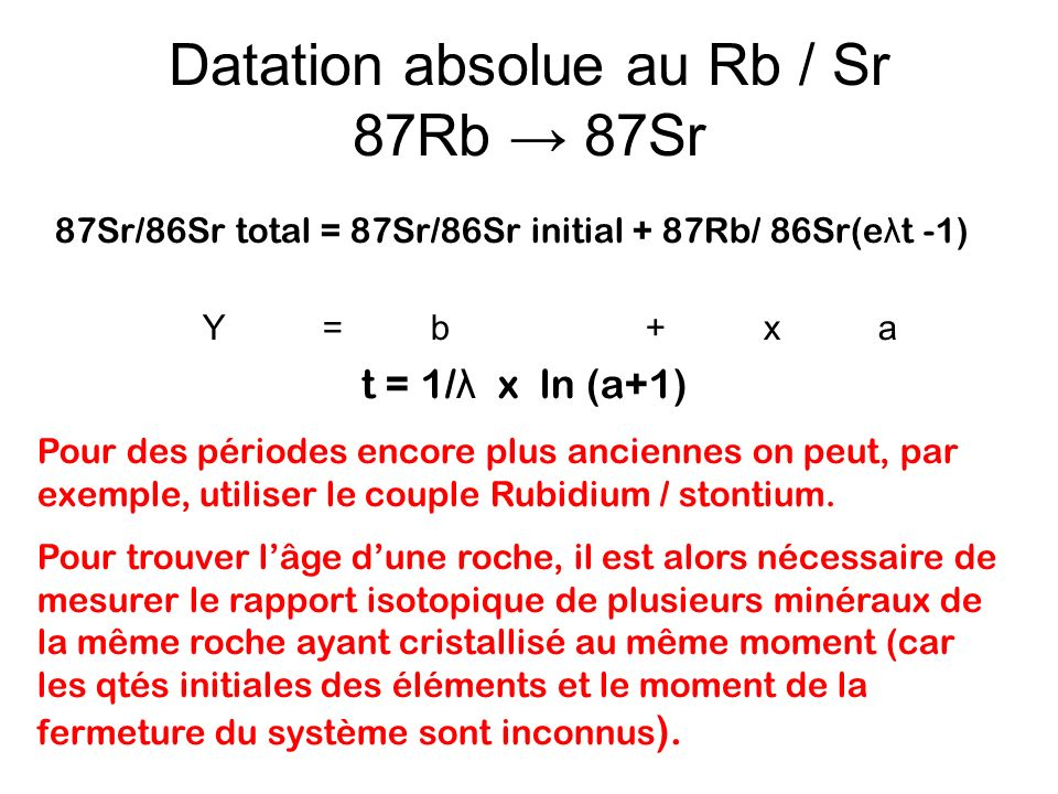 Datation absolue au Rb / Sr 87Rb → 87Sr