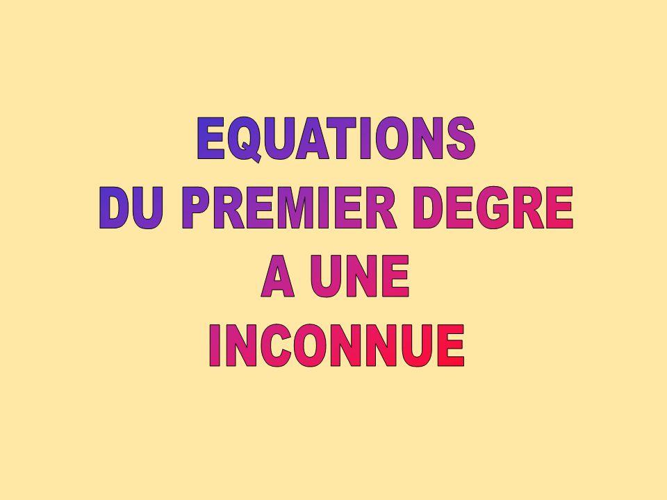 EQUATIONS DU PREMIER DEGRE A UNE INCONNUE