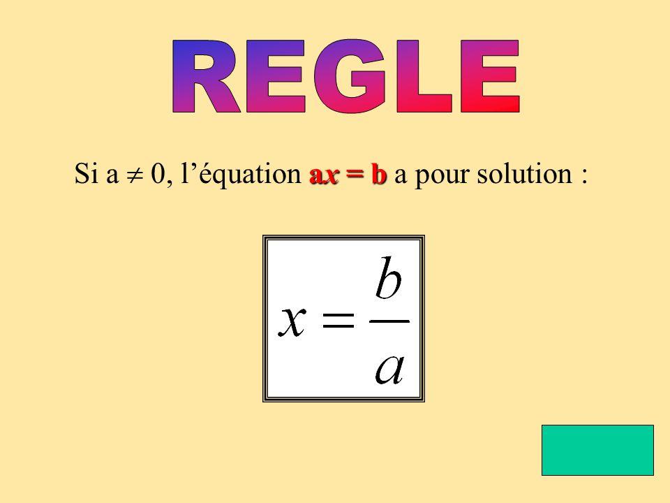 REGLE Si a  0, l'équation ax = b a pour solution :