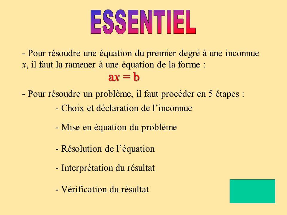 ESSENTIEL - Pour résoudre une équation du premier degré à une inconnue x, il faut la ramener à une équation de la forme :