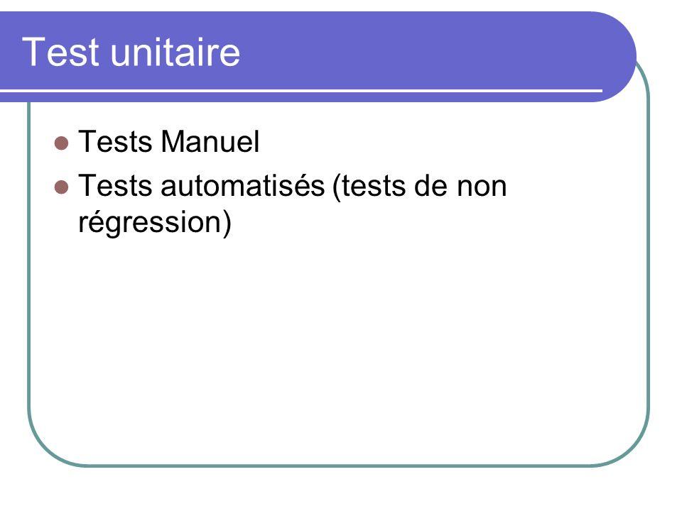 Test unitaire Tests Manuel Tests automatisés (tests de non régression)