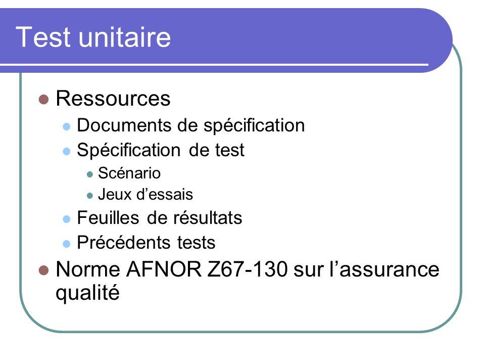 Test unitaire Ressources Norme AFNOR Z67-130 sur l'assurance qualité