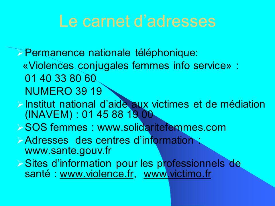 Le carnet d'adresses Permanence nationale téléphonique: