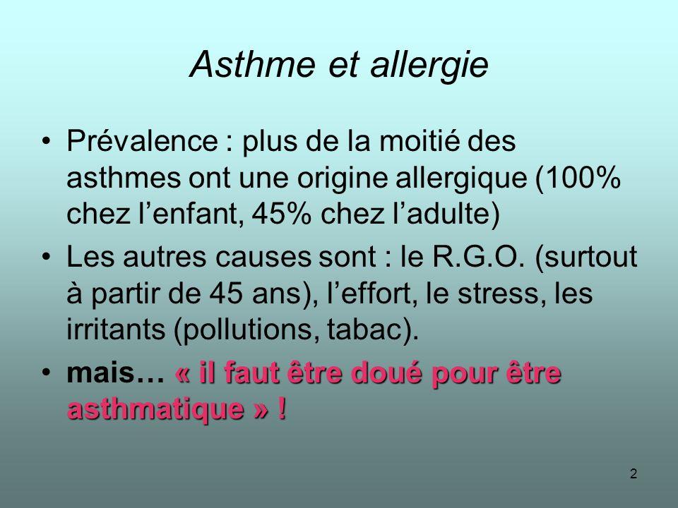 Asthme et allergie Prévalence : plus de la moitié des asthmes ont une origine allergique (100% chez l'enfant, 45% chez l'adulte)