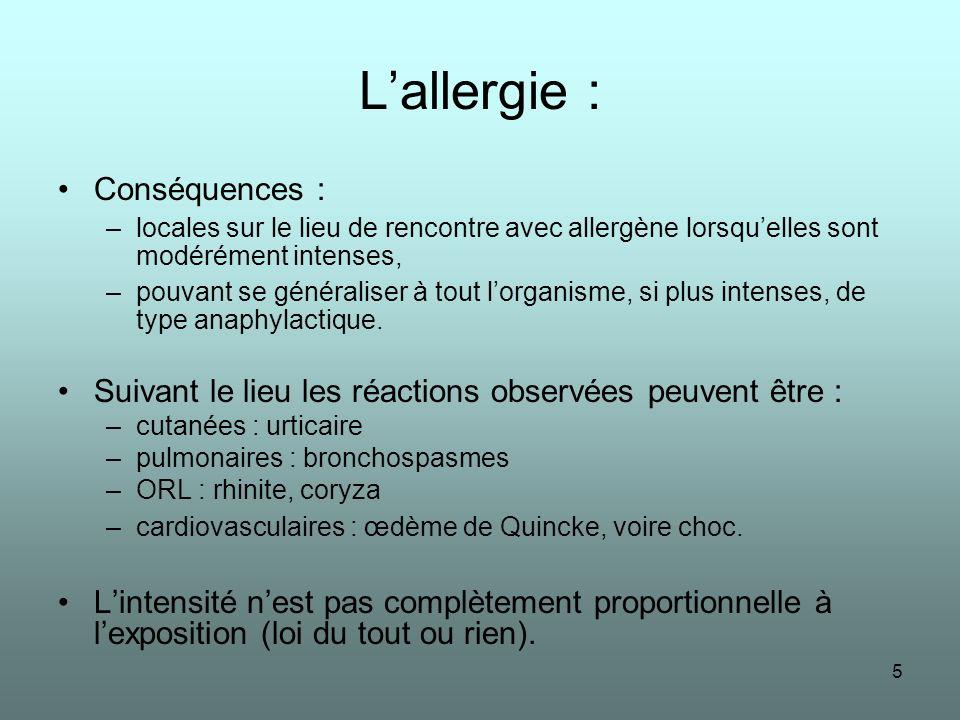 L'allergie : Conséquences :