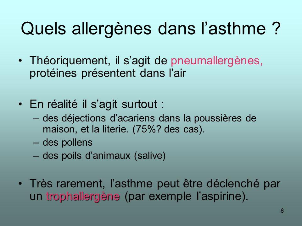 Quels allergènes dans l'asthme