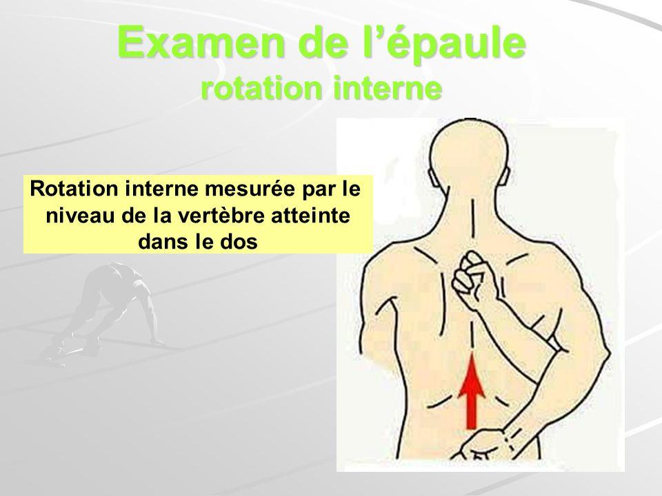 Examen de l'épaule rotation interne niveau de la vertèbre atteinte