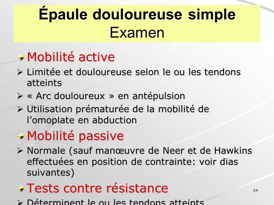 Épaule douloureuse simple Examen
