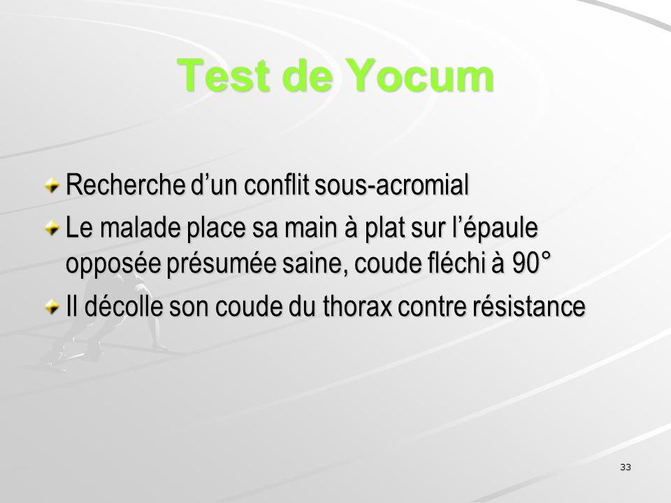 Test de Yocum Recherche d'un conflit sous-acromial