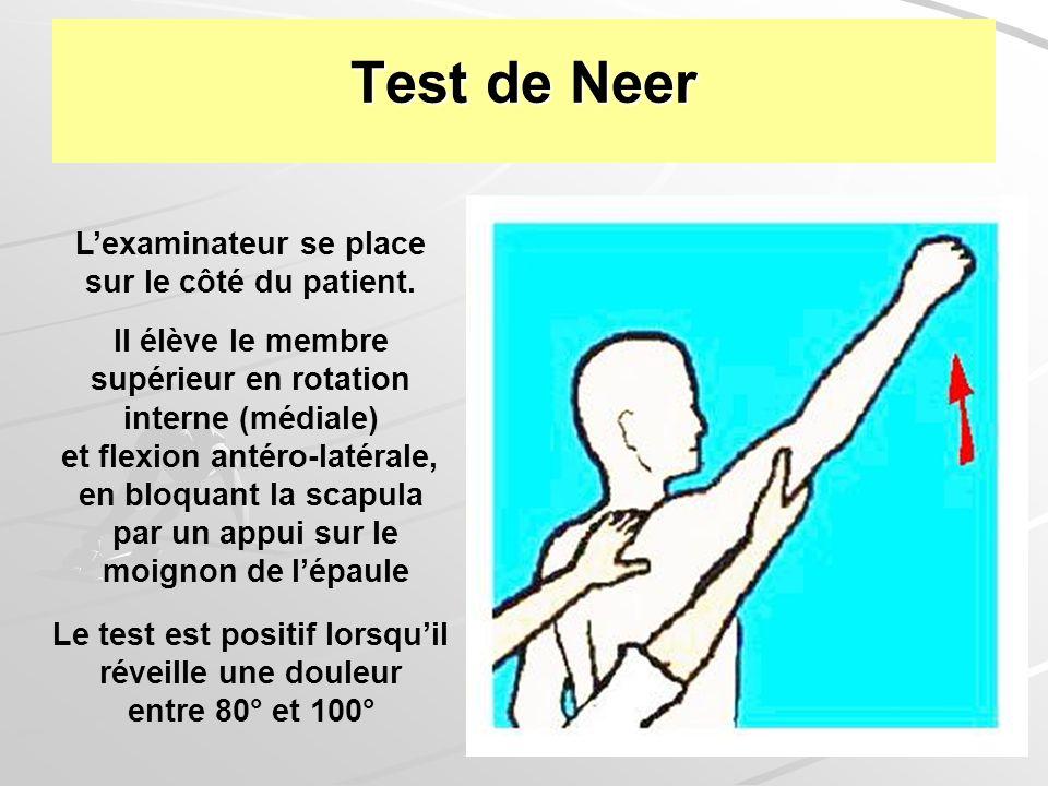 Test de Neer L'examinateur se place sur le côté du patient.