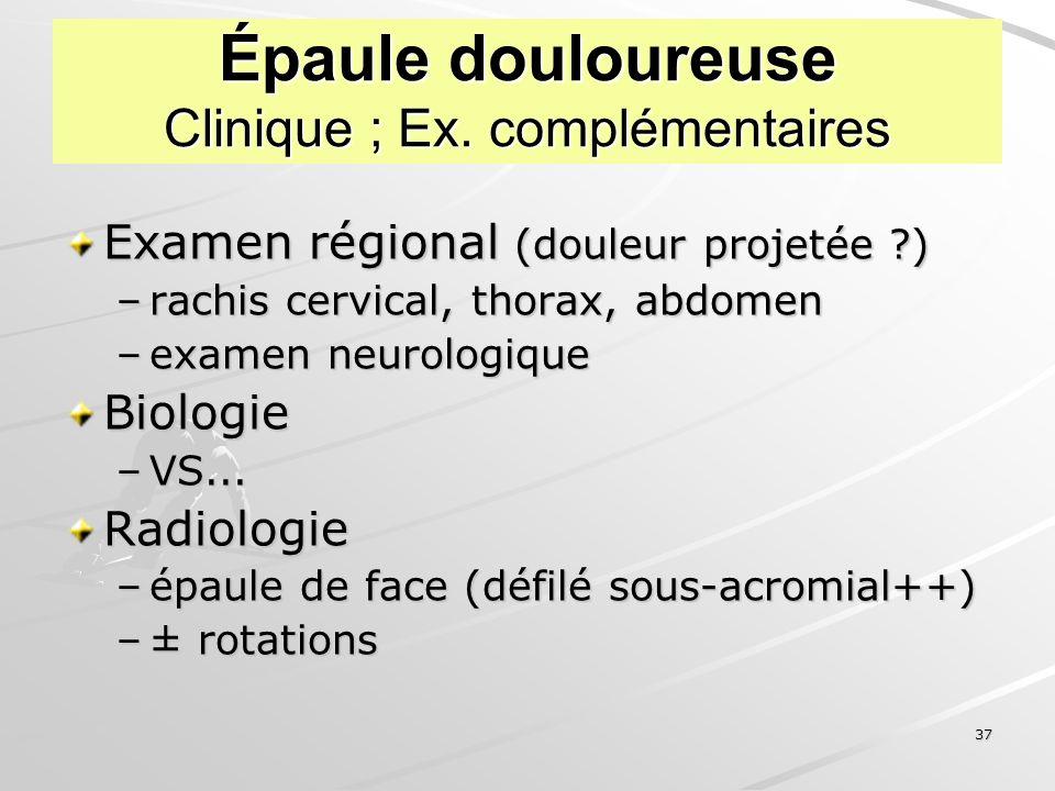Épaule douloureuse Clinique ; Ex. complémentaires