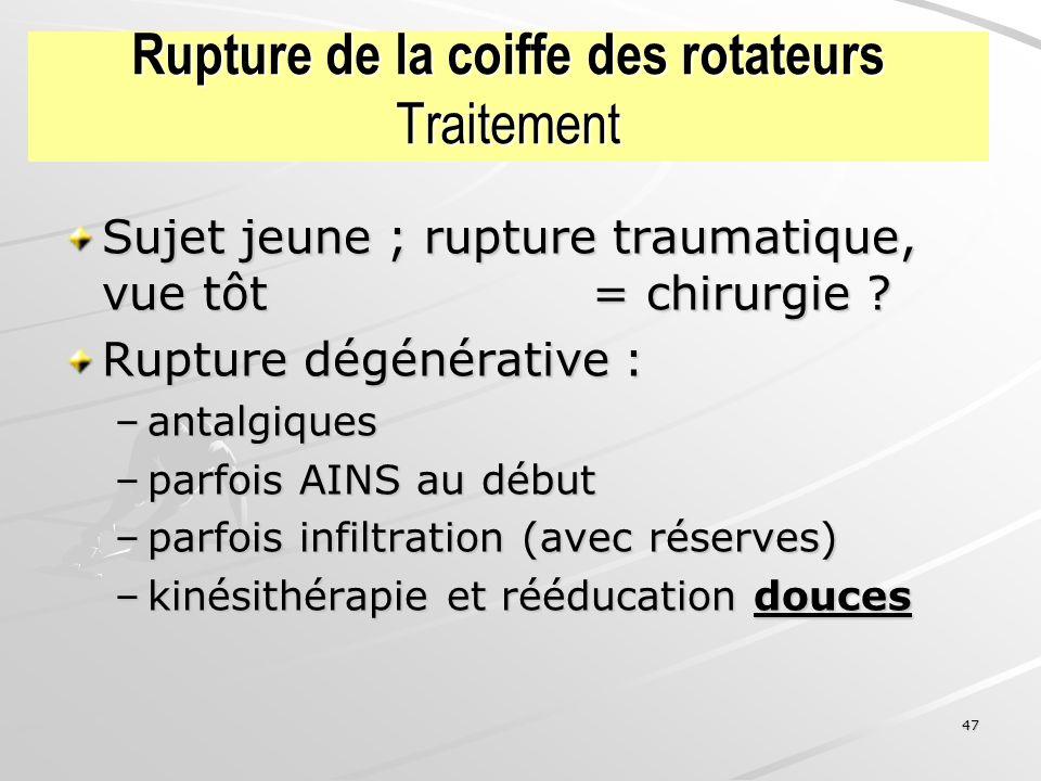 Rupture de la coiffe des rotateurs Traitement