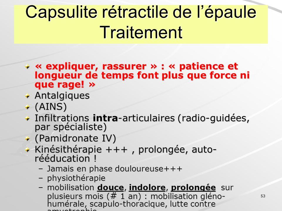 Capsulite rétractile de l'épaule Traitement