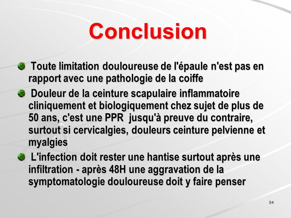 Conclusion Toute limitation douloureuse de l épaule n est pas en rapport avec une pathologie de la coiffe.