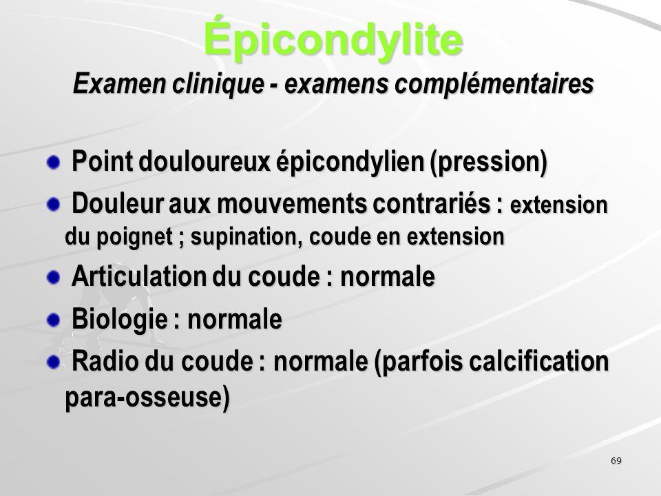 Épicondylite Examen clinique - examens complémentaires