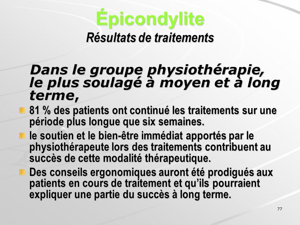 Épicondylite Résultats de traitements