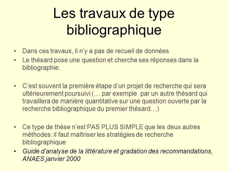 Les travaux de type bibliographique