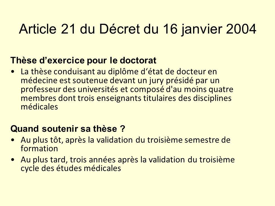 Article 21 du Décret du 16 janvier 2004