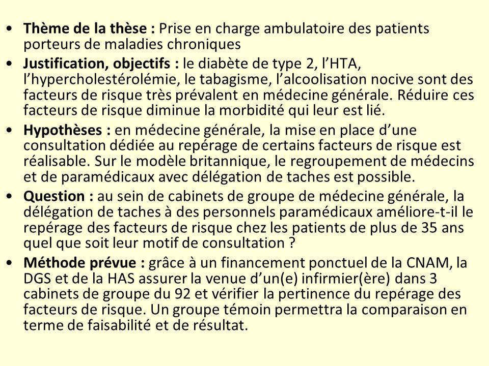 Thème de la thèse : Prise en charge ambulatoire des patients porteurs de maladies chroniques