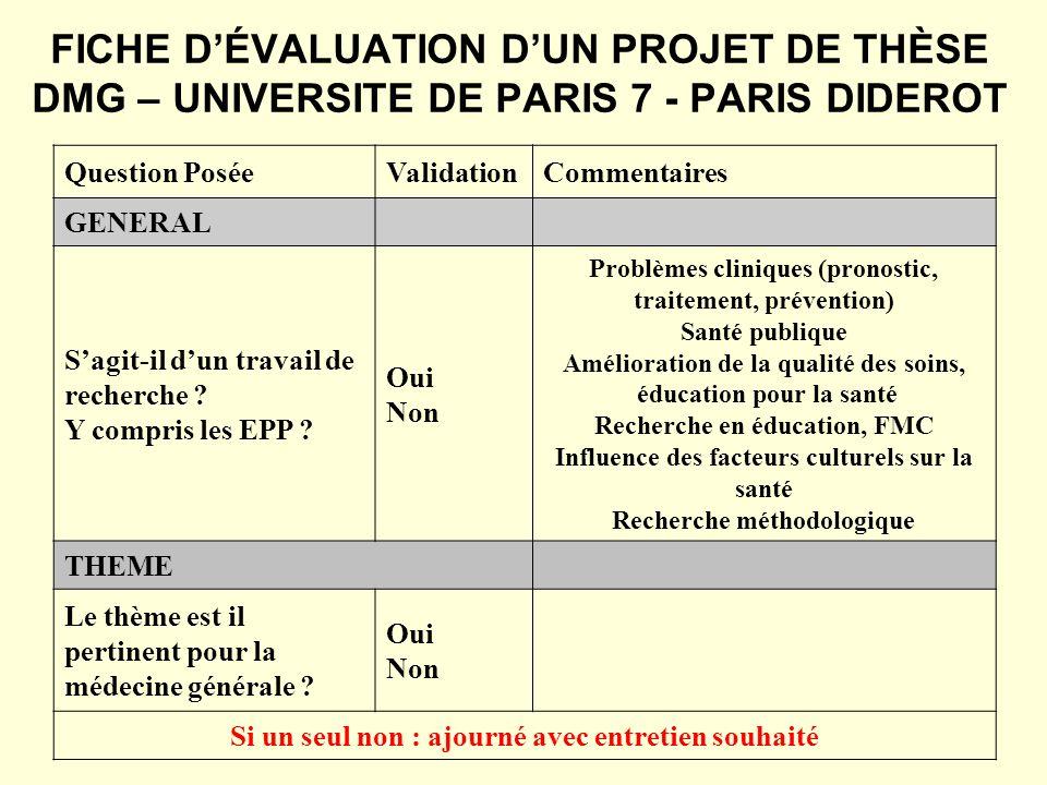 FICHE D'ÉVALUATION D'UN PROJET DE THÈSE DMG – UNIVERSITE DE PARIS 7 - PARIS DIDEROT