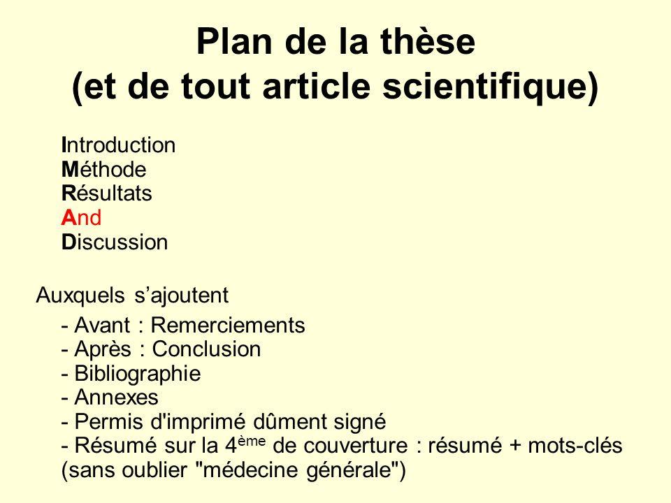 Plan de la thèse (et de tout article scientifique)