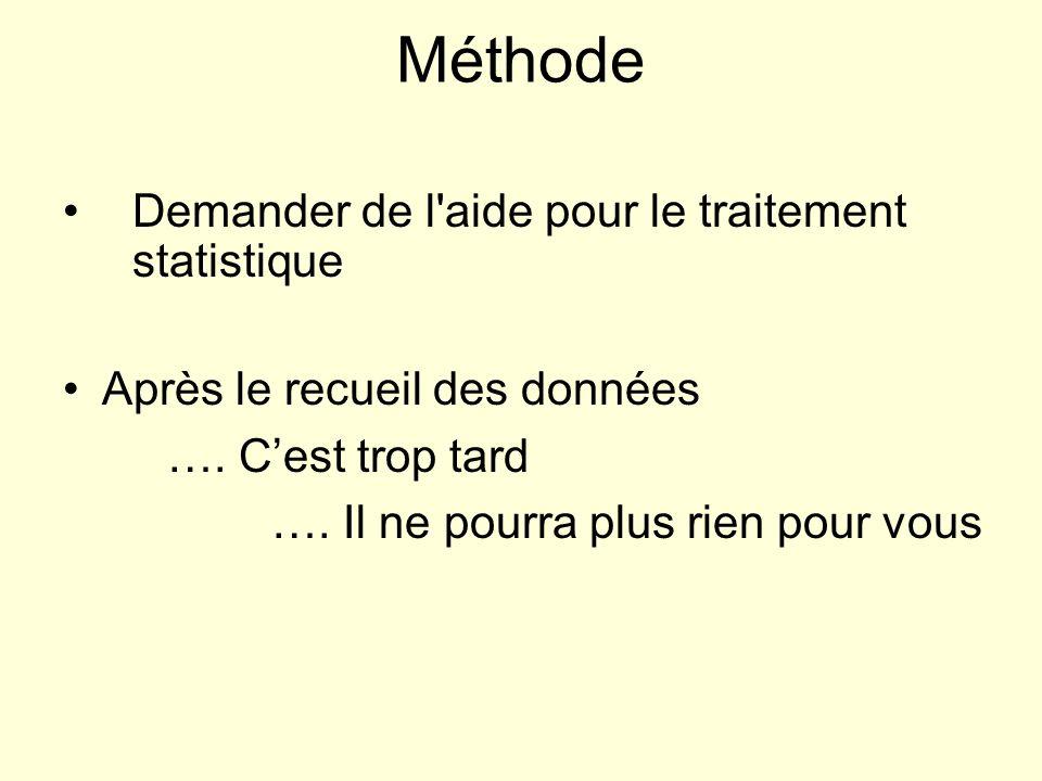 Méthode Demander de l aide pour le traitement statistique