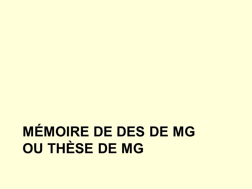 Mémoire de DES de MG Ou thèse de MG