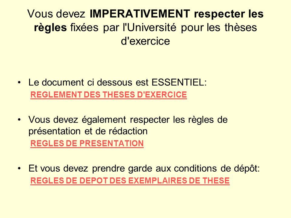 Vous devez IMPERATIVEMENT respecter les règles fixées par l Université pour les thèses d exercice