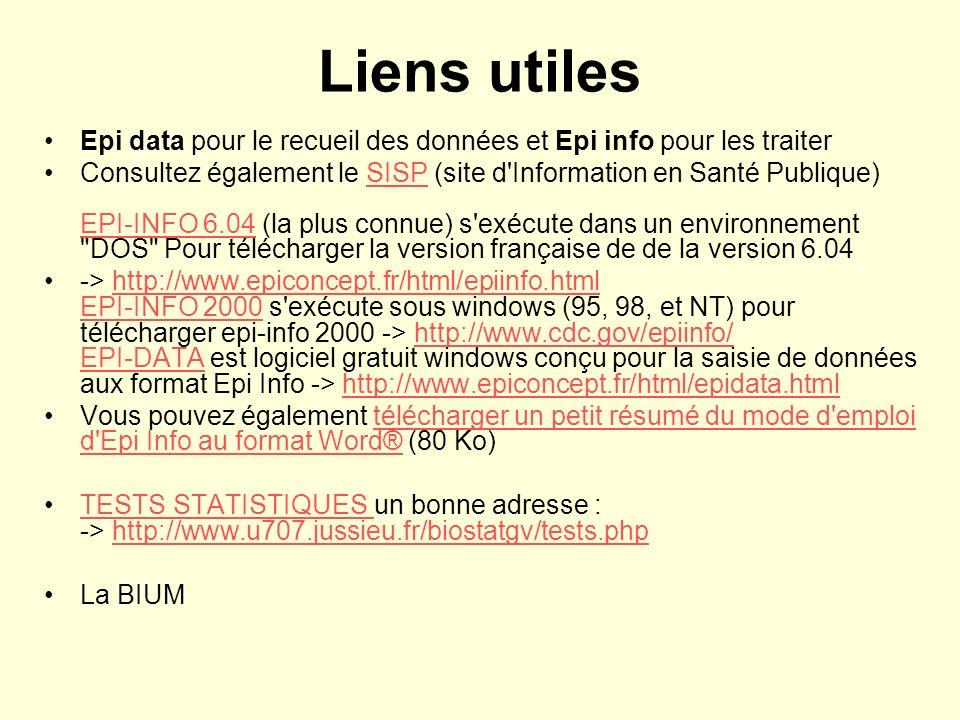 Liens utiles Epi data pour le recueil des données et Epi info pour les traiter.