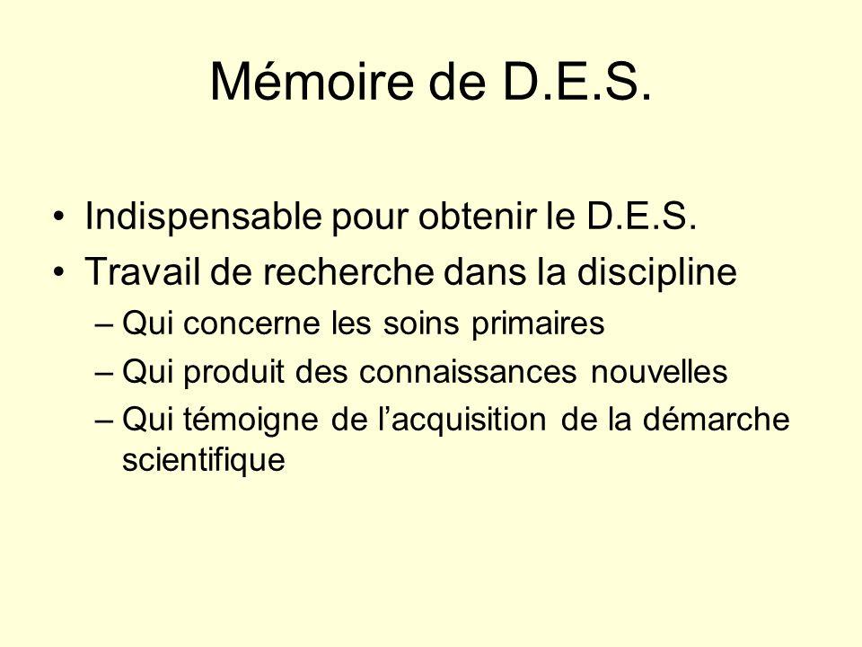 Mémoire de D.E.S. Indispensable pour obtenir le D.E.S.