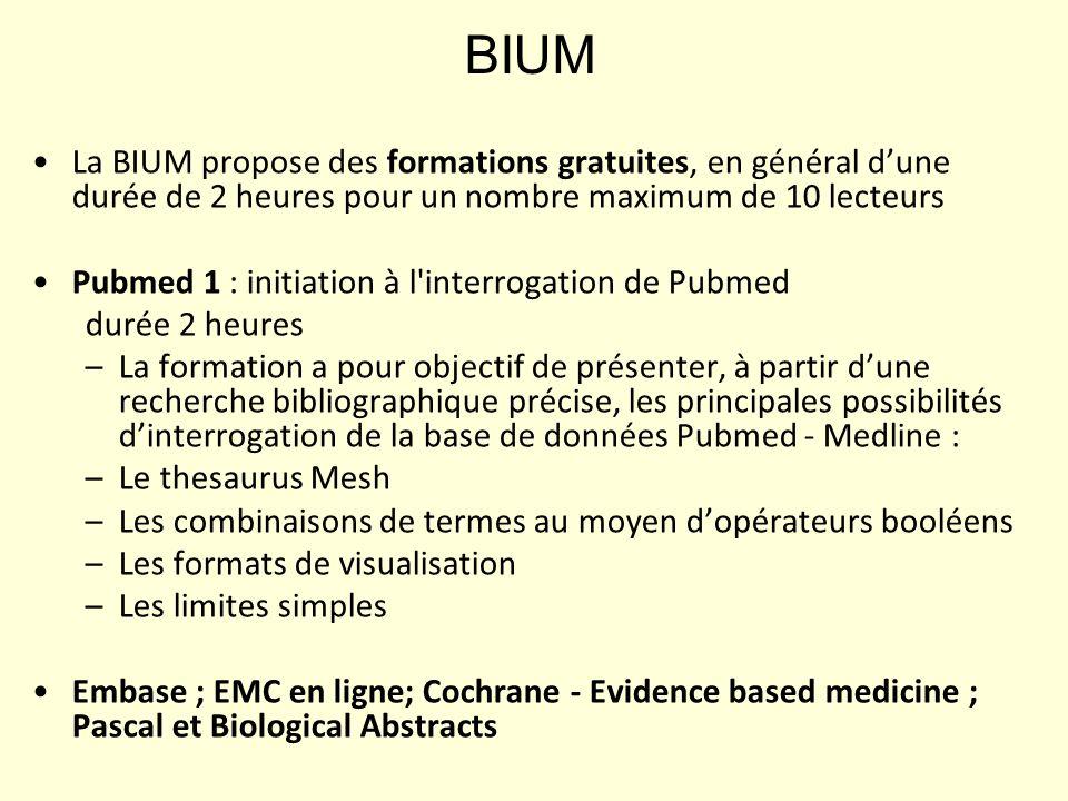 BIUM La BIUM propose des formations gratuites, en général d'une durée de 2 heures pour un nombre maximum de 10 lecteurs.