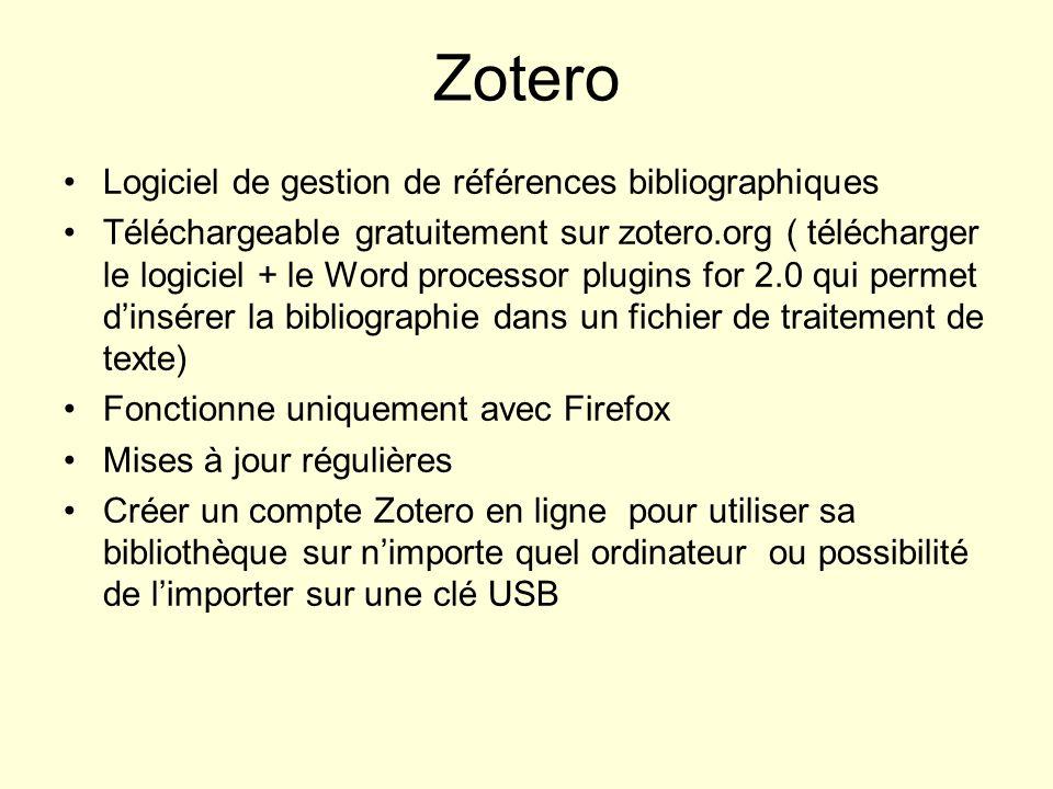 Zotero Logiciel de gestion de références bibliographiques