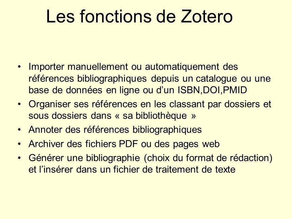 Les fonctions de Zotero