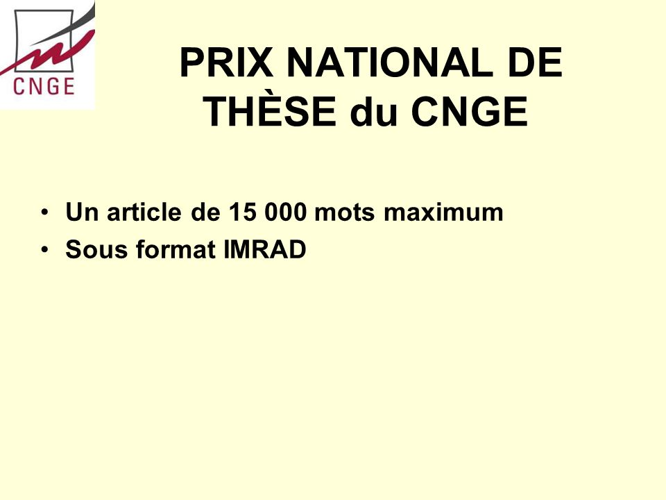 PRIX NATIONAL DE THÈSE du CNGE