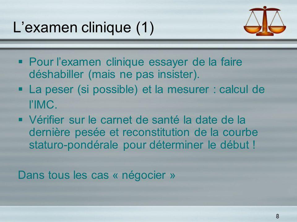 L'examen clinique (1) Pour l'examen clinique essayer de la faire déshabiller (mais ne pas insister).