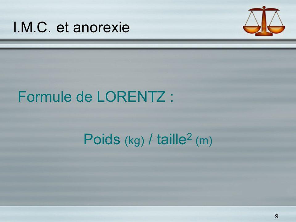 I.M.C. et anorexie Formule de LORENTZ : Poids (kg) / taille2 (m)