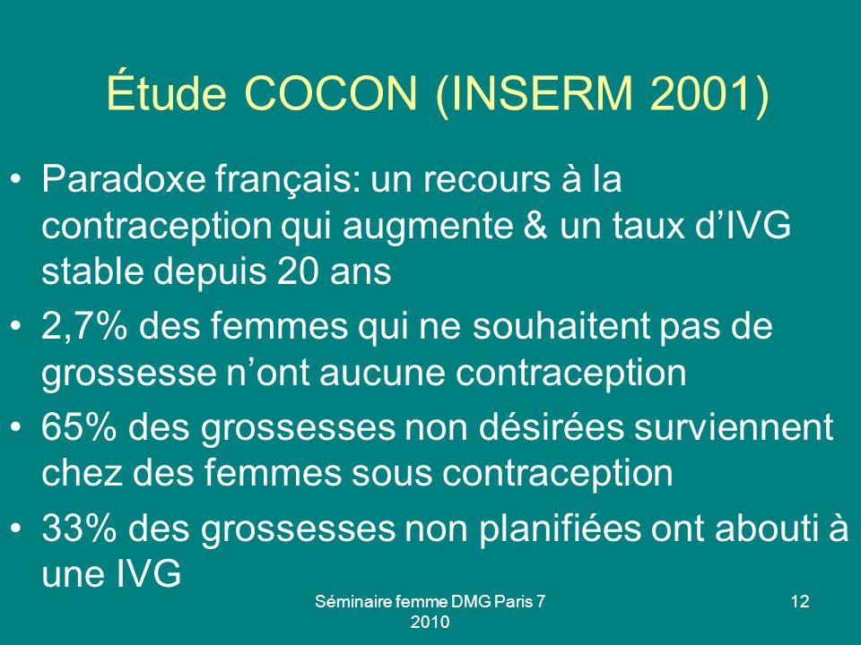 Séminaire femme DMG Paris 7 2010