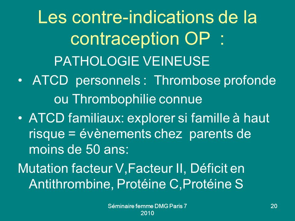 Les contre-indications de la contraception OP :