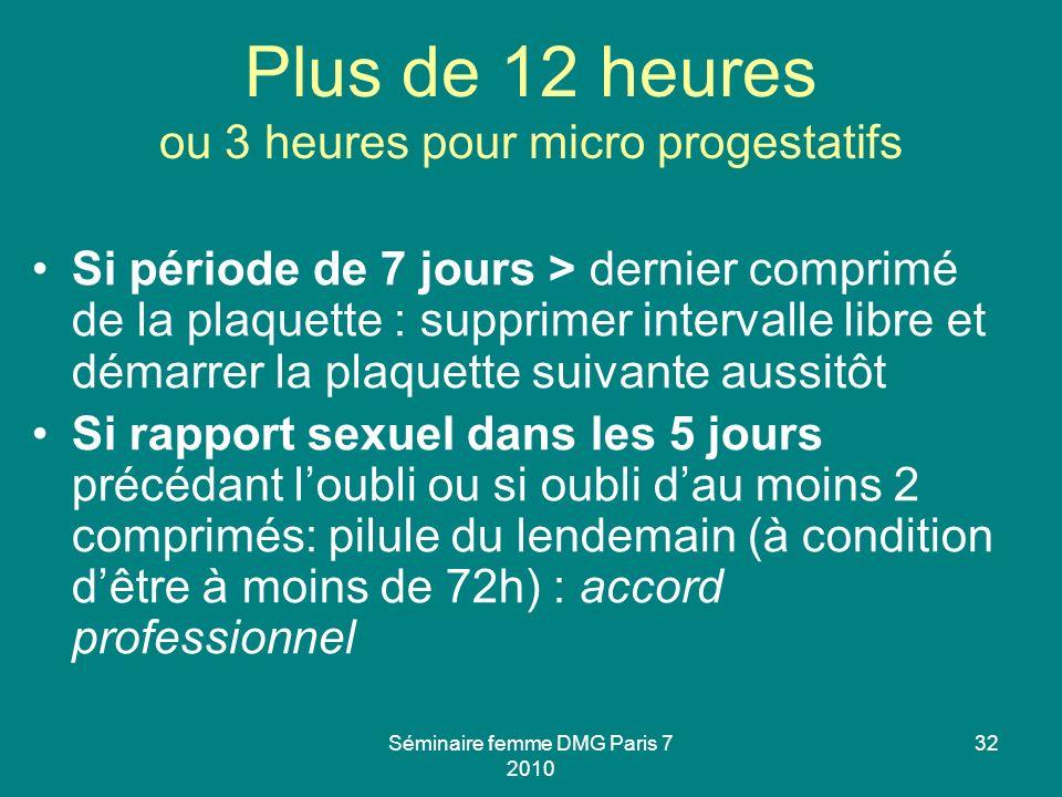 Plus de 12 heures ou 3 heures pour micro progestatifs